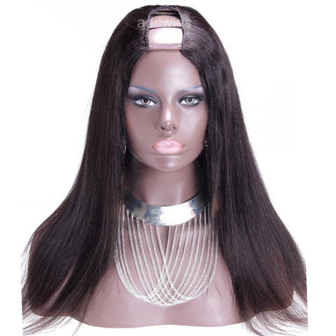Italian Yaki Upart Wigs Natural Color U Part Human Hair Wig