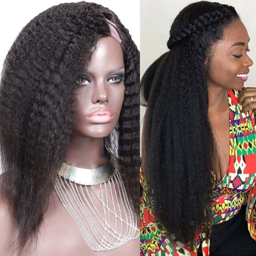 Kinky Straight U Part Wig Left Side Part Upart Wigs For Black Women