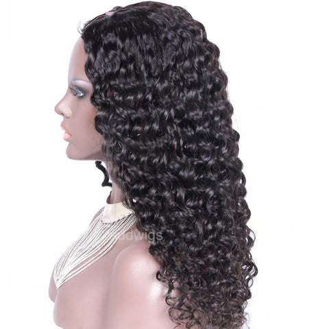 Human Hair U Part Wig For Black Women Brazilian Loose Curly Upart Wigs Natural Color