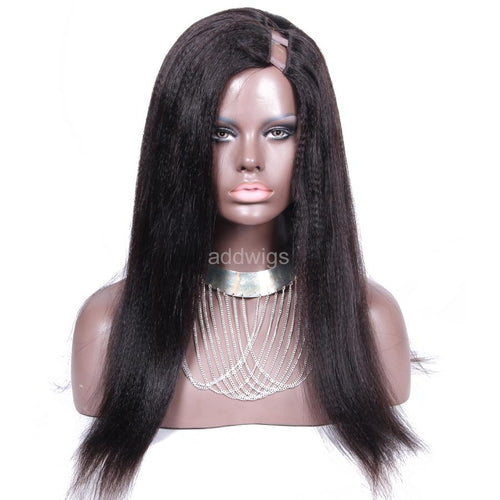 Italian Yaki Straight U Part Wig Left Side Part Medium Yaki Texture