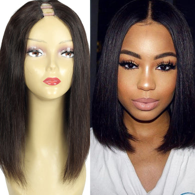Bob Wig Brazilian U Part Human Hair Wig Natural Color Upart Wigs