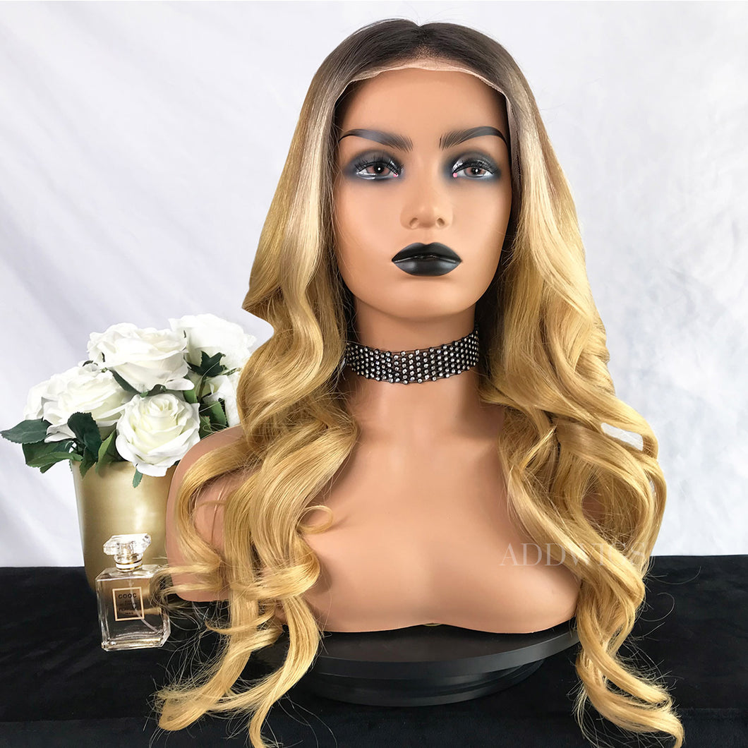 Nannie Virgin Hair Full Lace Wigs Brown Roots&Warm Blonde