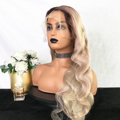Donna Virgin Hair Full Lace Wigs Black Roots&Platinum Blonde