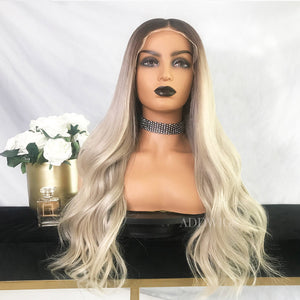 Isabella Virgin Hair Full Lace Wigs Brown Roots & Silvery Grey