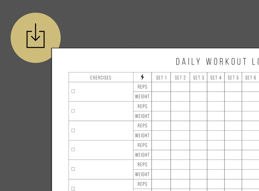 Daily Workout Log (Printable)