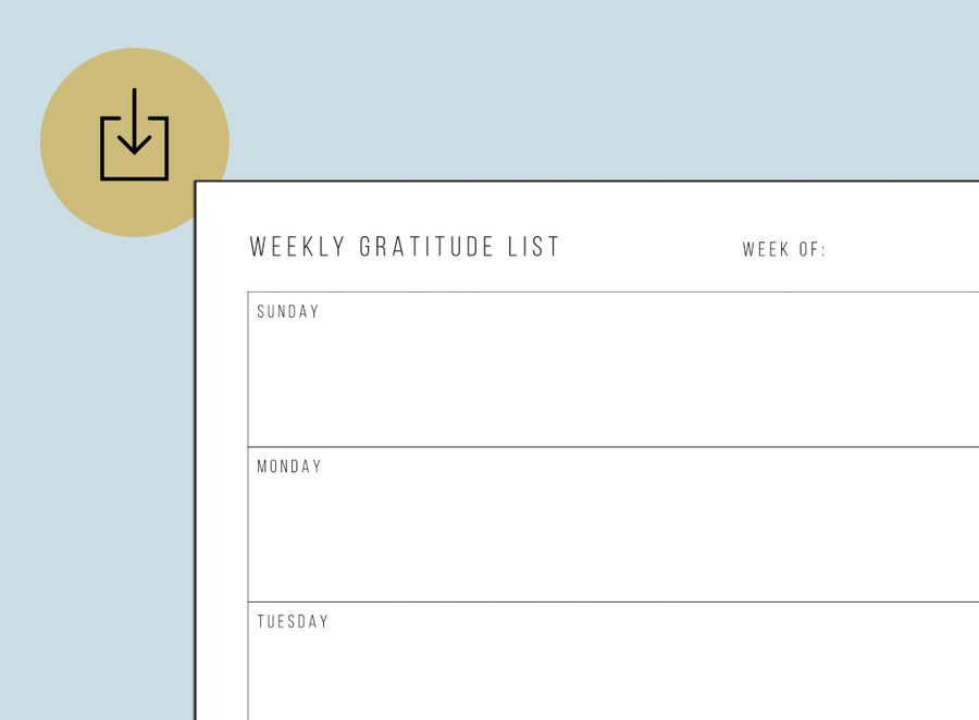 Weekly Gratitude List (Printable)