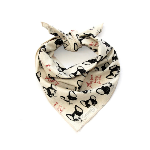 Clothes Companion Frenchie Classic-Tie Bandana for French Bulldog Dog Puppies and Pets