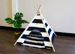 Navy Blue Striped Pets Teepee Dog Teepee and Cat Teepee