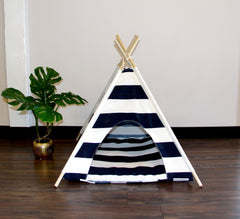 Navy Blue Striped Pet Teepee Dog Teepee and Cat Teepee