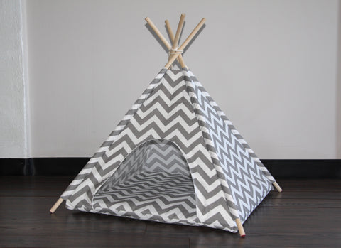Gray Chevron Striped Pet Teepee Dog Teepee and Cat Teepee