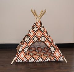 Orange Art Deco Pet Teepee Dog Teepee and Cat Teepee