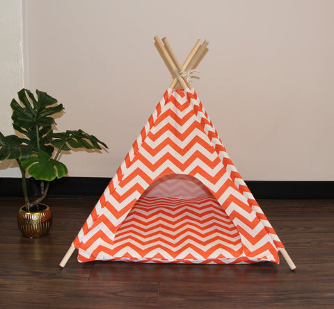 Orange Chevron Pet Teepee Dog Teepee and Cat Teepee