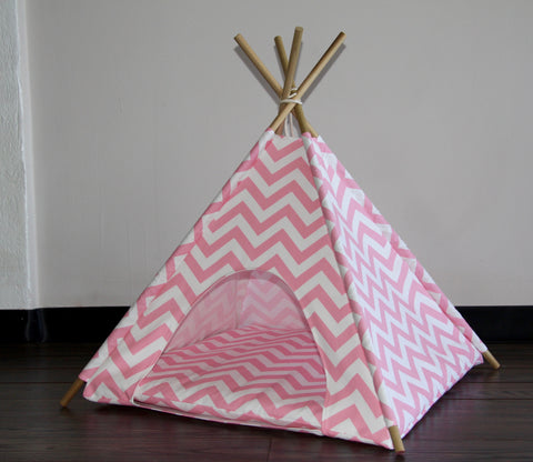 Pink Chevron Pet Teepee Dog Teepee and Cat Teepee