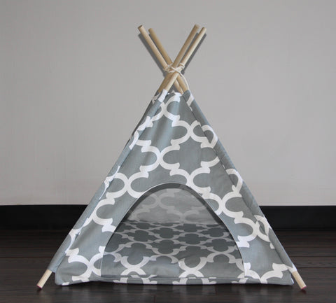 Gray Moroccan Pet Teepee Dog Teepee and Cat Teepee