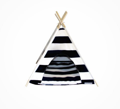 BLACK AND WHITE STRIPED DOG TEEPEE