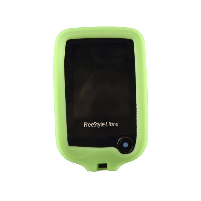 Freestyle Libre 1/2 Protective Silicone Gel Cover - Green Gloskynz - GLOWS IN THE DARK!