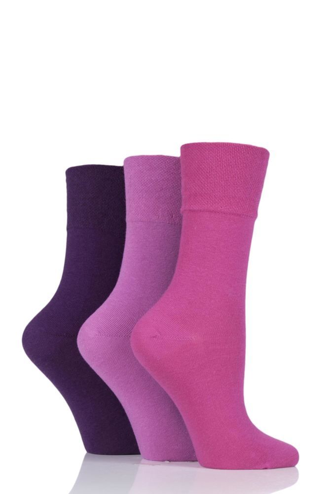 3 Pairs - Pink/Purple Mix - Ladies Gentle Grip Diabetic Socks Size 4-8