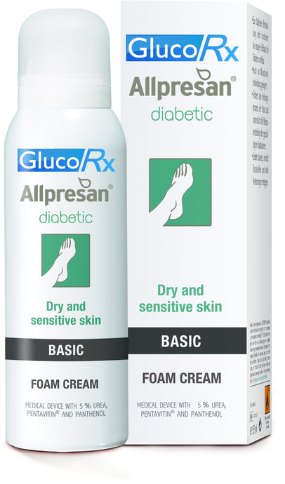 GlucoRx ALLPRESAN® DIABETIC FOAM CREAM BASIC 5% Urea Dry and sensitive skin 125ml