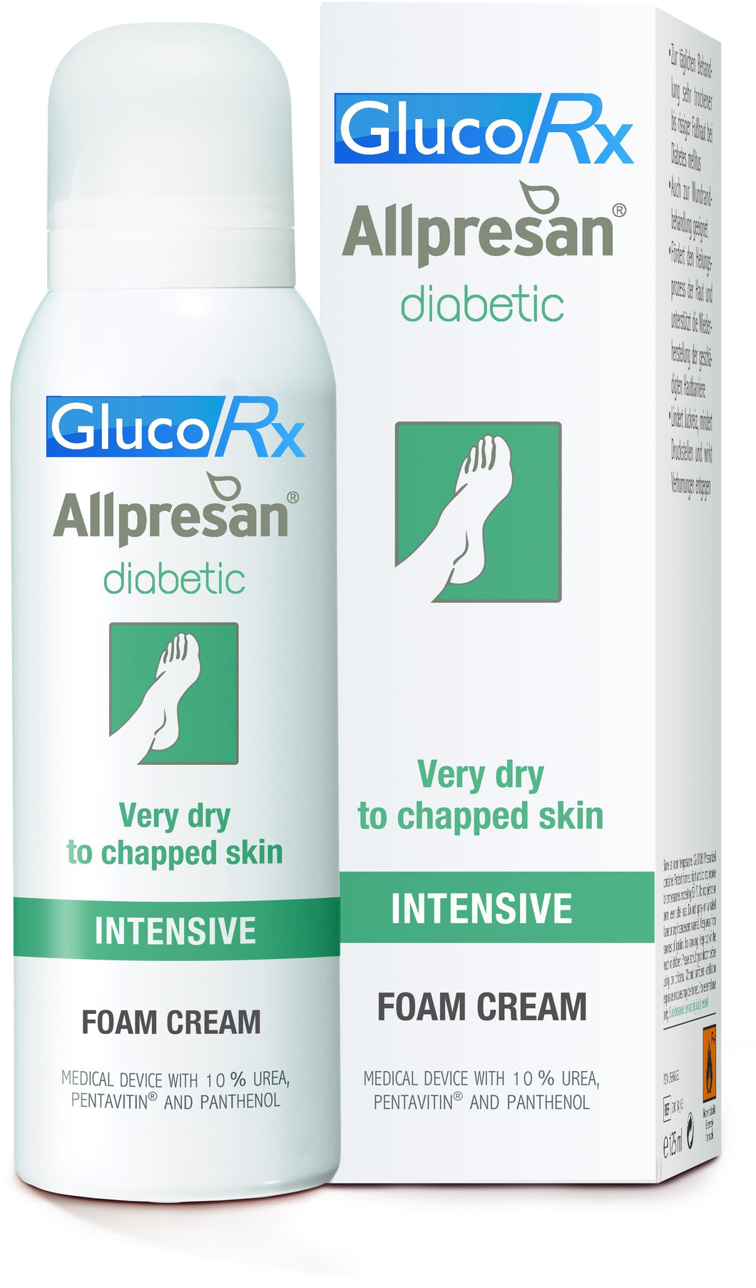GlucoRx ALLPRESAN® DIABETIC FOAM CREAM INTENSIVE 10% Urea Dry and sensitive skin 300ml