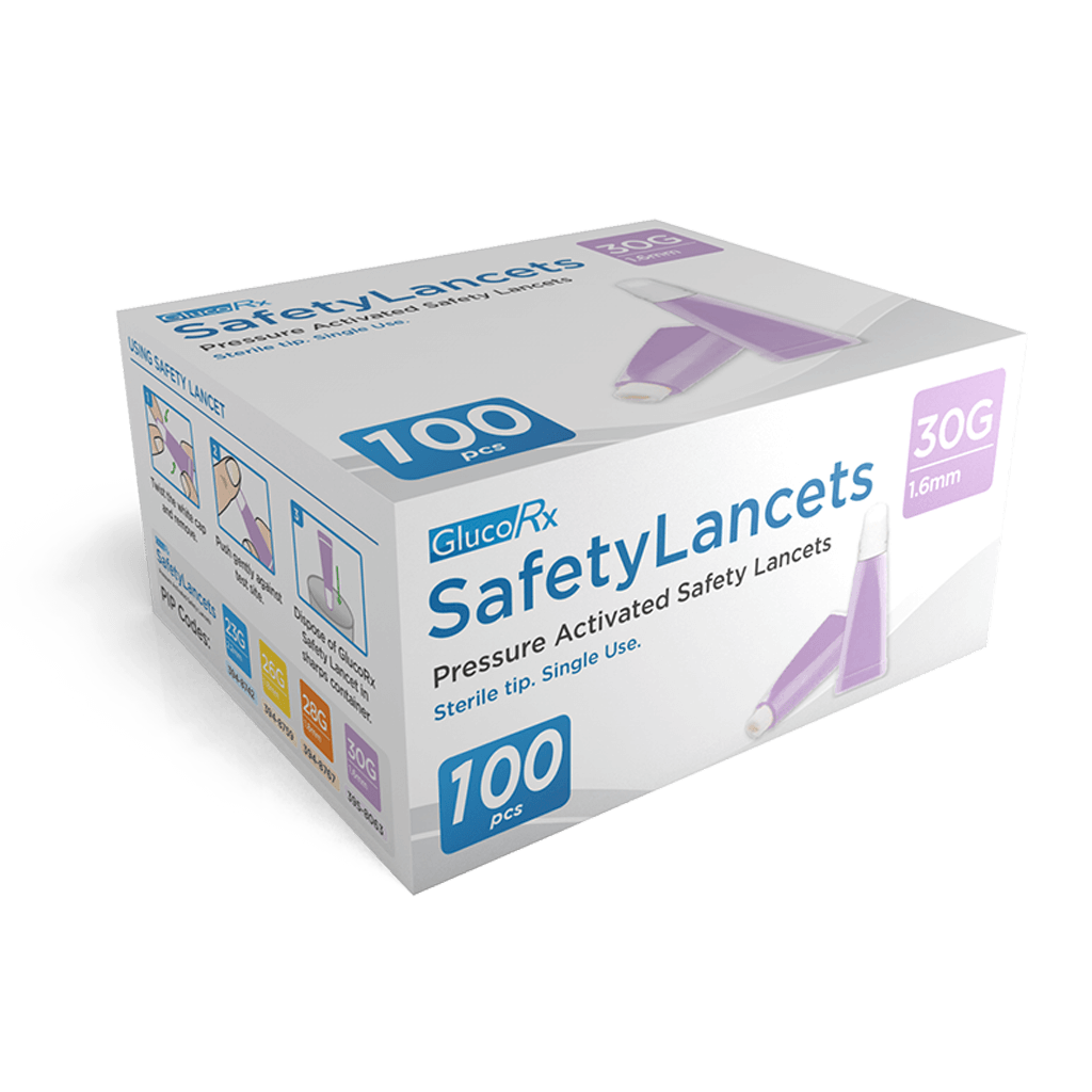 GlucoRX Safety Lancets 30G 1.6mm - 1 x 100 lancets