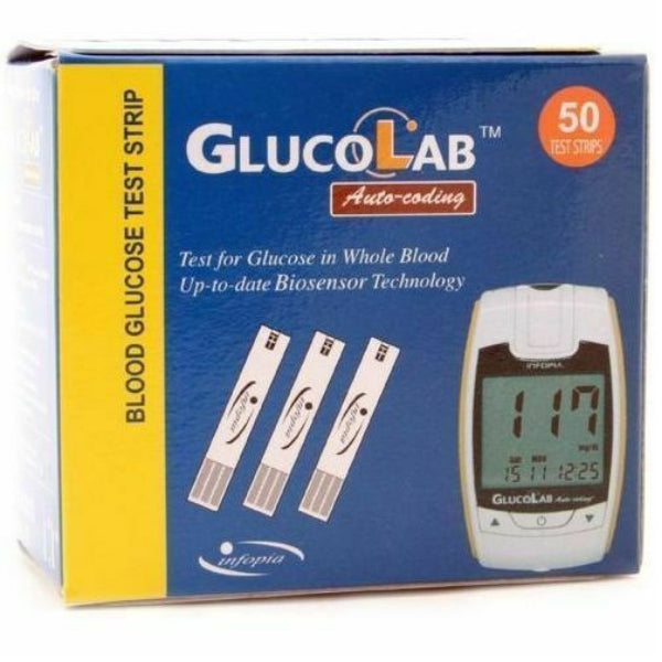 GlucoLab Blood Glucose Test Strips - Pack of 50