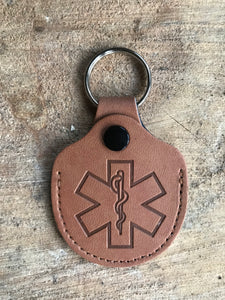 Real Leather Medical ID Keyring - Tan