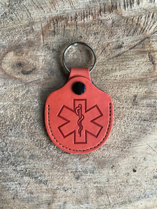 Real Leather Medical ID Keyring - Burnt Orange
