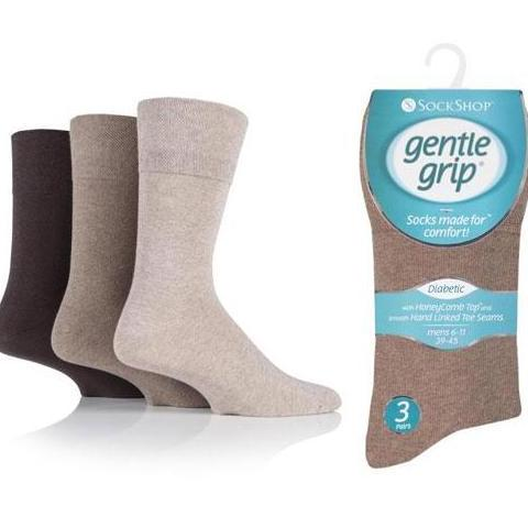 3 Pairs Brown Mix - Bigfoot - Mens Gentle Grip Non Elastic EasyFit HoneyComb Top Diabetic Socks Size 12-14