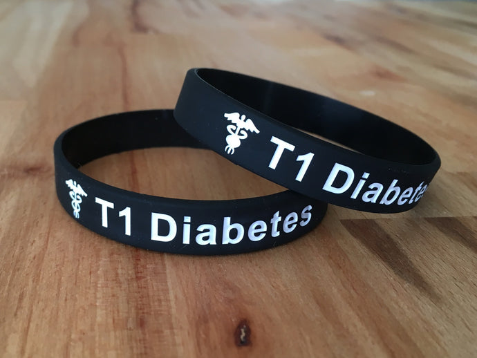 T1 or T2 Diabetes Silicone Wristband
