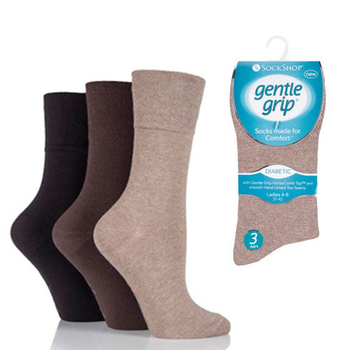 3 Pairs - Brown - Ladies Gentle Grip Diabetic Socks Size 4-8