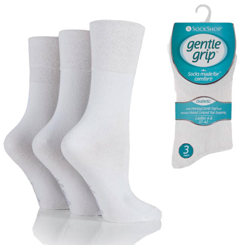 3 Pairs - White - Ladies Gentle Grip Diabetic Socks Size 4-8