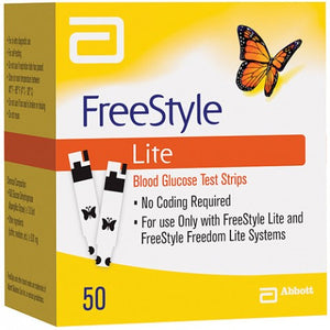 Freestyle Lite Blood Glucose Test Strips - Pack of 50 - Diabeticsupply co uk
