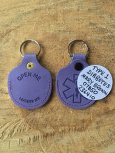 Real Leather Medical ID Keyring - Lilac