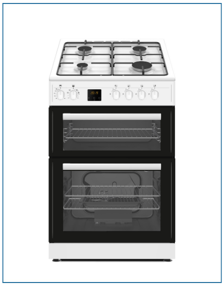 P06G2SNGW PowerPoint 60cm Twin Cavity Gas Cooker