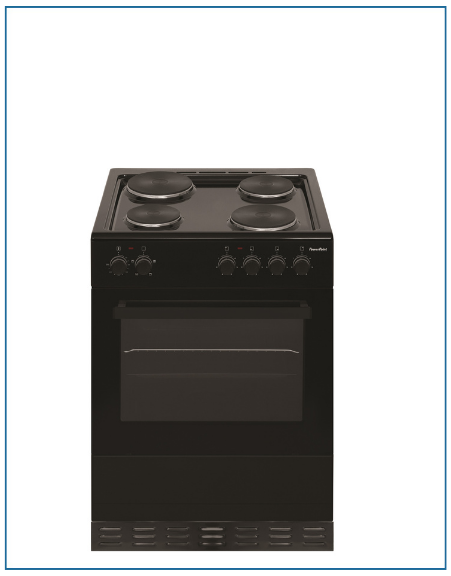 P06E1S1BL PowerPoint 60cm Single Cavity with Solid Hob