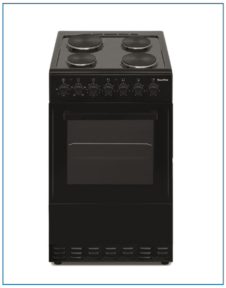 P05E1S1BL PowerPoint 50cm Single Cavity with Solid Hob Black