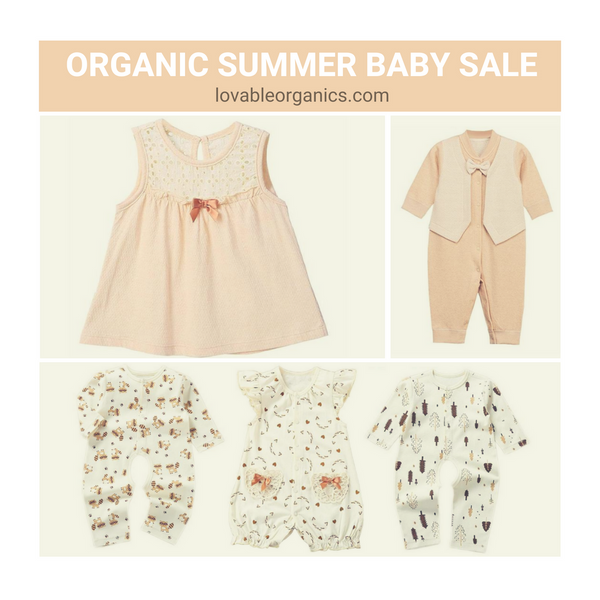 All our summer themed organic baby clothes are discounted and going fast