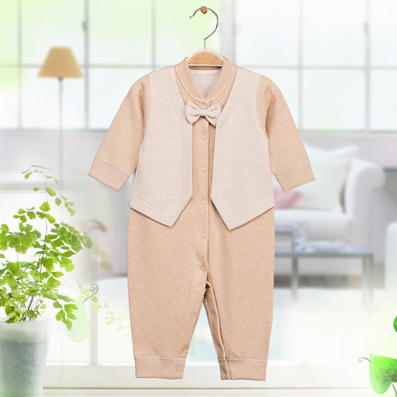 Naturally Coloured Organic Cotton Baby Boy Bow-Tie & Vest Romper