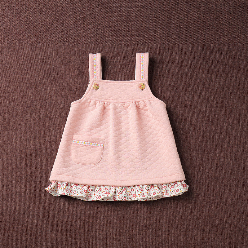Naturally Colored Organic Cotton Autumn & Winter Above Knee Mini Baby Girl Sleeveless Dress