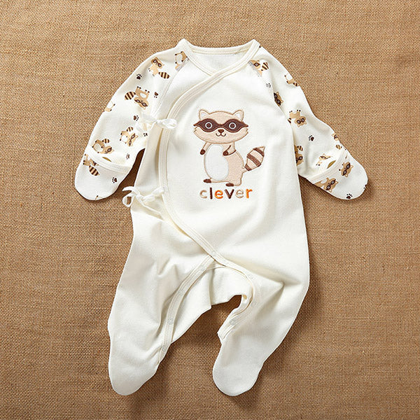 c8ad2bf00746 Organic Cotton Baby One-Piece Footed Romper Raccoon Design ...