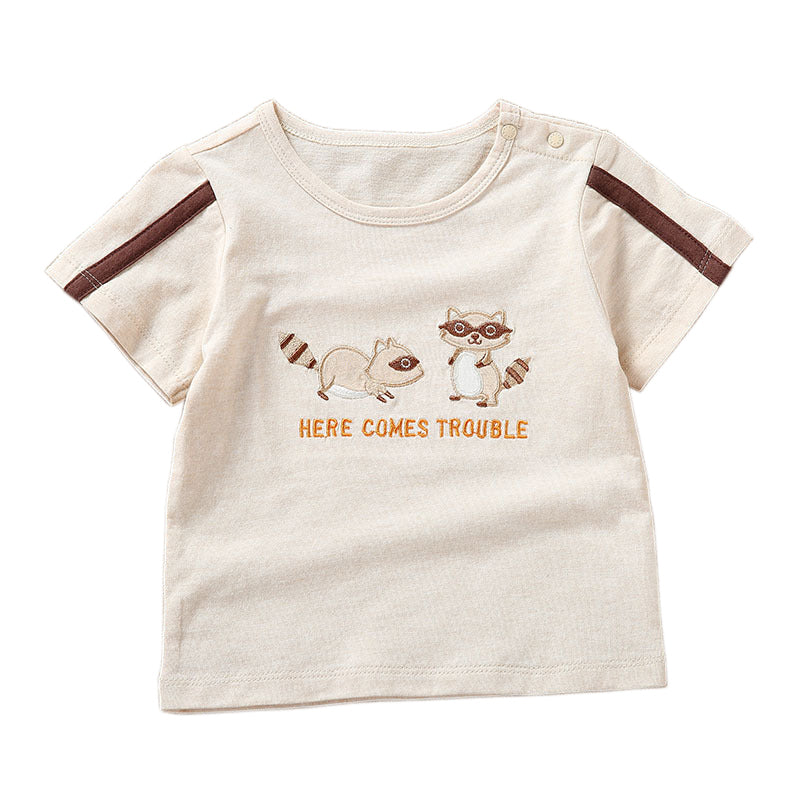 Mr Raccoon Summer 2Pc Baby Boy Naturally Colored Organic Cotton Set