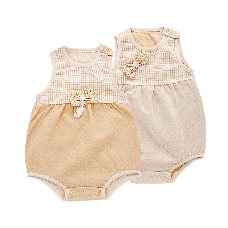 c3948e4c3 Organic Cotton Baby Girl Onesie With A Bow Detail - LovableOrganics
