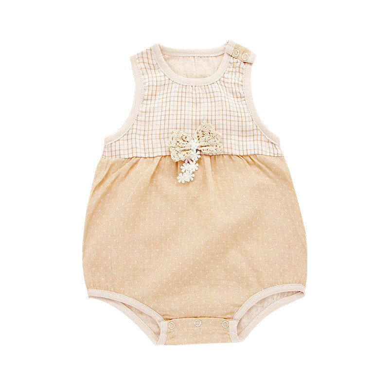 Organic Cotton Baby Girl Onesie With A Bow Detail