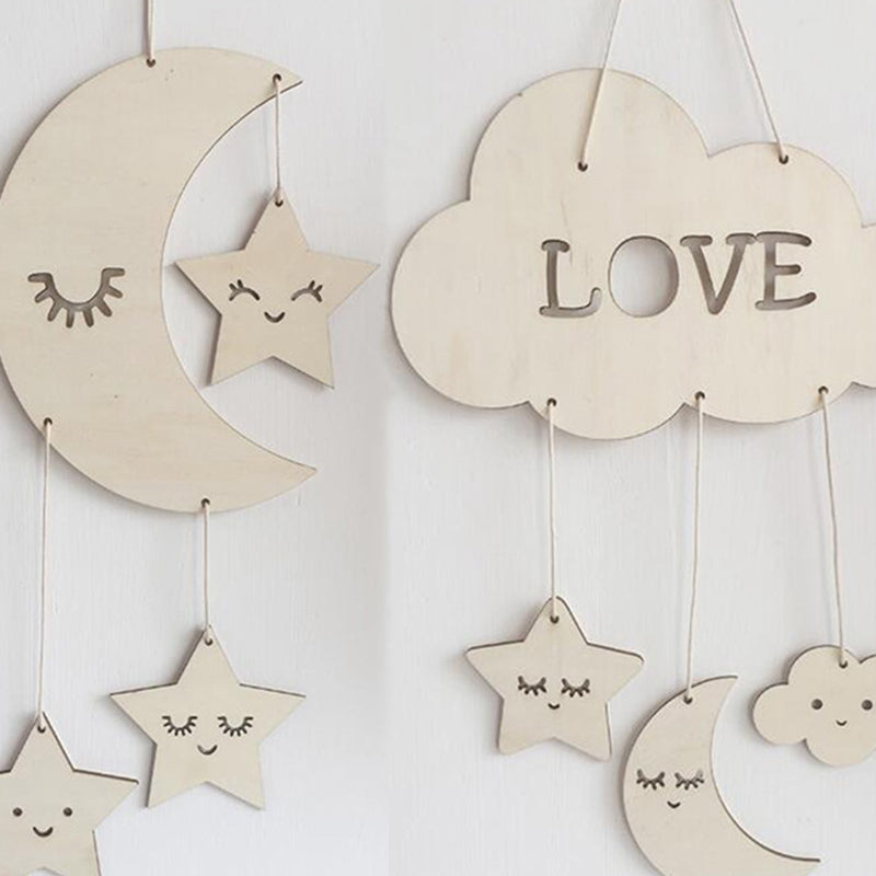 8ed76ea08d9dc Wooden Nursery Decor Mobiles of Sleeping Cloud, Moon and Stars
