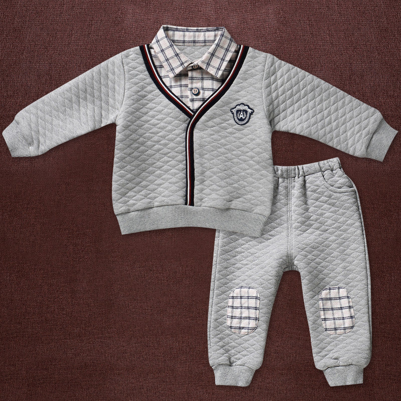 Organic Naturally Colored Cotton Winter Baby Boy Long Sleeve Top & Pant 2Pcs Set