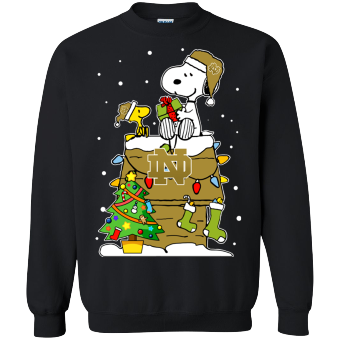 Notre Dame Fighting Irish Ugly Christmas Sweaters Snoopy Woodstock ...