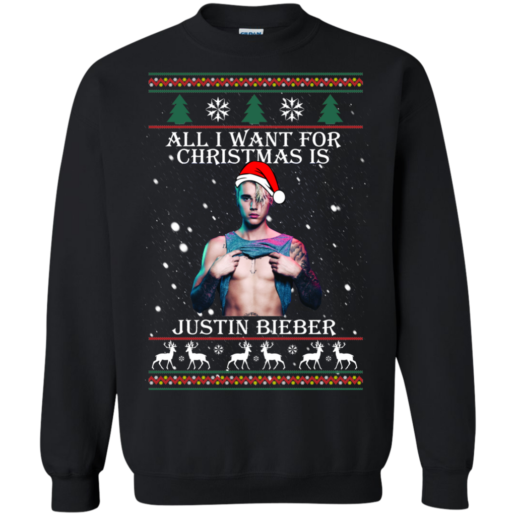 Justin Bieber Ugly Christmas Sweater All I Want For Christmas ...