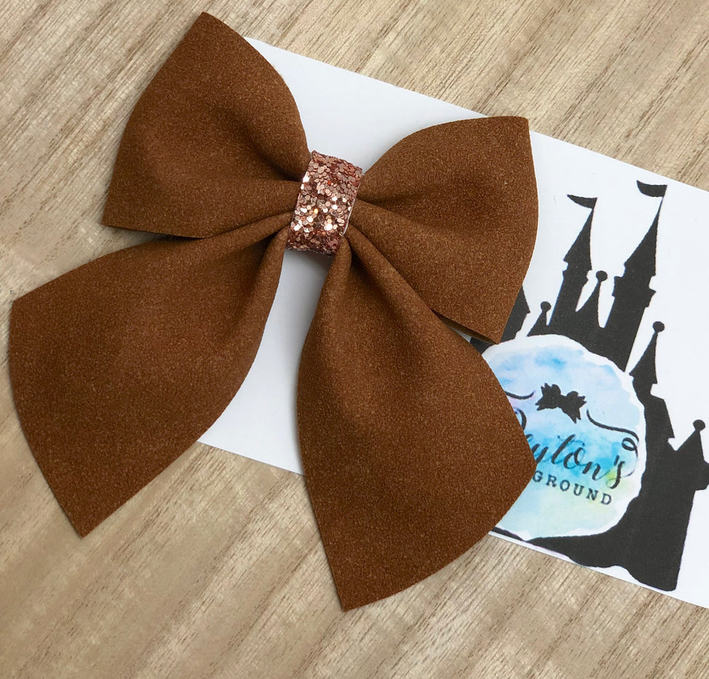 Classic Large Faux Suede School Girl Bow-choose color