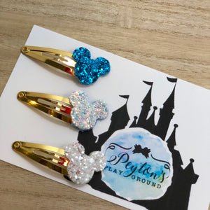 Ice Queen Mouse Head Snap Clip Set