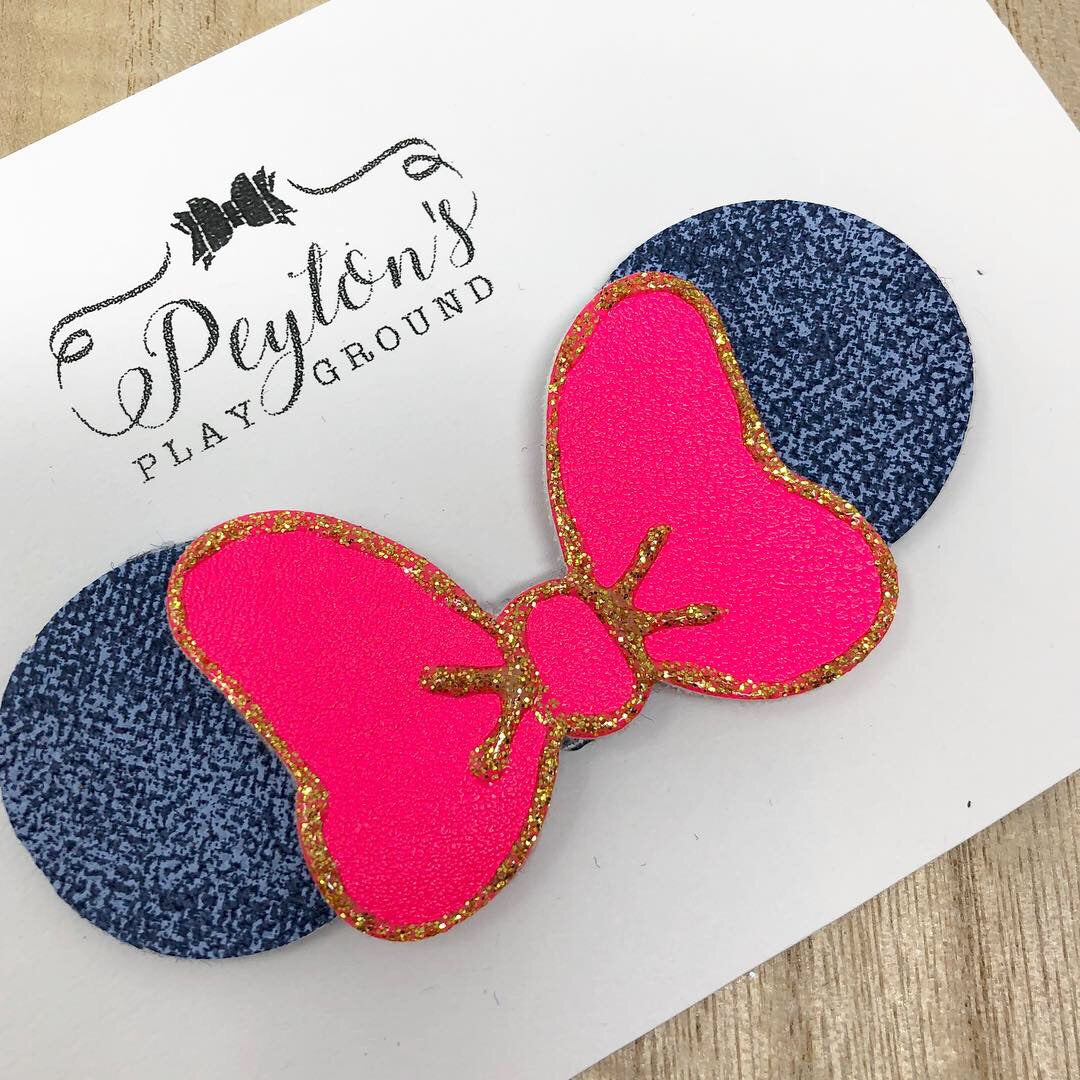 Denim and Neon Pink Bow and Ears